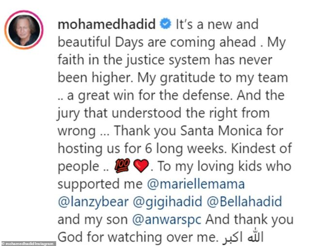 Hadid relished his victory in an Instagram post Friday, thanking his lawyers, the jury and the city of Santa Monica, California