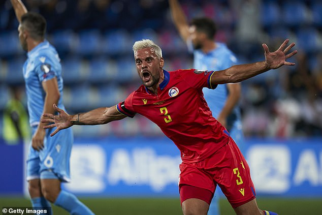 Marc Vales celebrates scoring for Andorra in a famous win over San Marino last Thursday