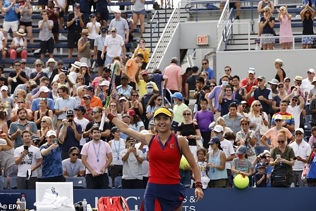 A thrilled Raducanu celebrates her first round victory over Stefanie Vogele at the US Open