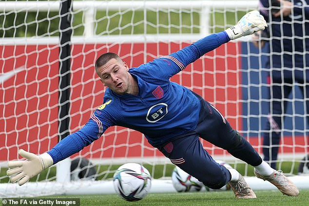 The West Bromwich Albion stopper makes a save during England training this week