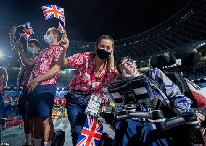 British athletes celebrate their achievements, after coming second in the games behind China, taking home 41 gold, 38 silver and 45 bronze medals