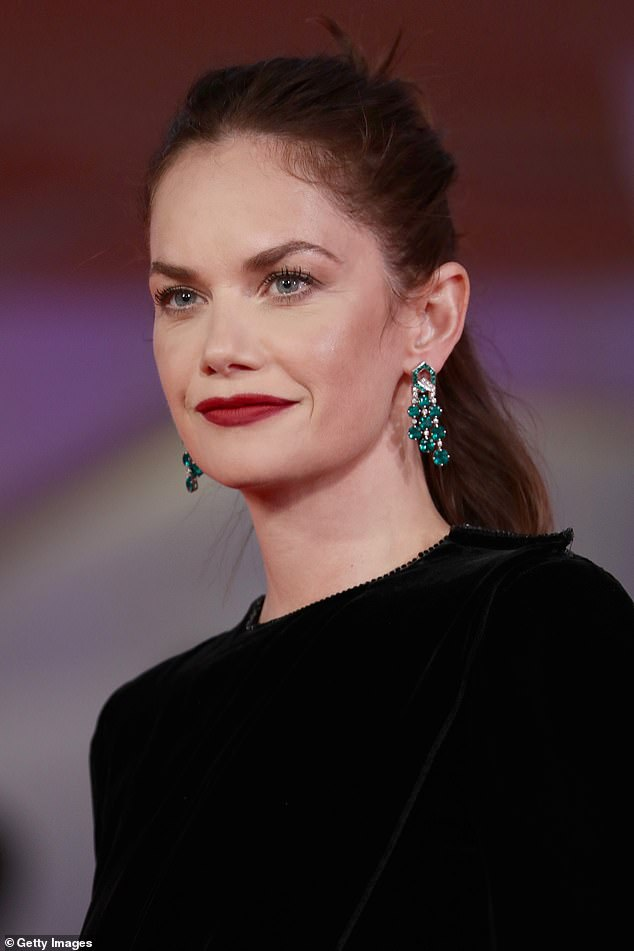 Beauty:Her makeup artist painted The Affair star's lips a deep shade of crimson, which she co-ordinated to the colour of her eyeshadow, all by Armani Beauty