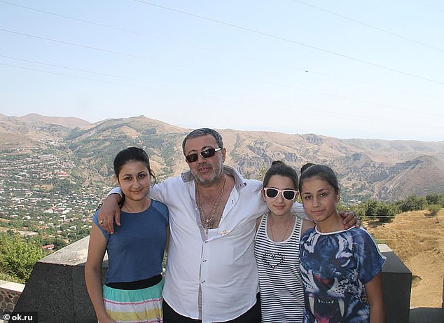 'Evil sex abuser' Mikhail Khachaturyan (centre), 57, was stubbed to death with his own hunting knife in 2018 by his daughters (from left) Krestina, Maria, Angelina