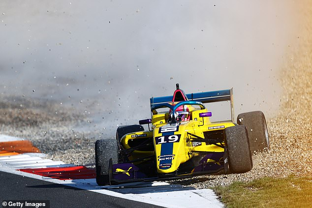 Marta Garcia drives out of the gravel at Zandvoort during the race on Saturday afternoon