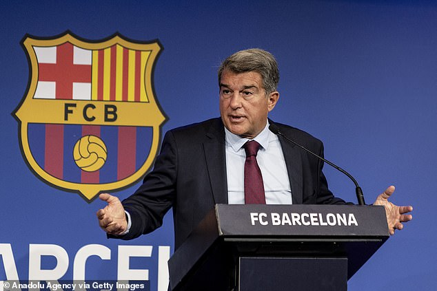 Last month Barcelona president Joan Laporta (above) announced that the club had fallen further into debt after years of mismanagement by his predecessor Josep Bartomeu