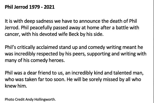 The sad news was revealed on Saturday in a statement from the comedian's agent