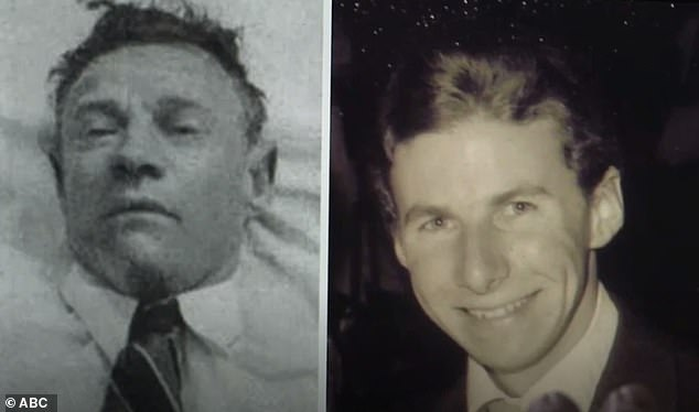 Professor Derick Abbot believes the Somerton Man (left) may be an American and the father of an Australian ballet dancer - Robin Thomson - Ms Egan's father (right)