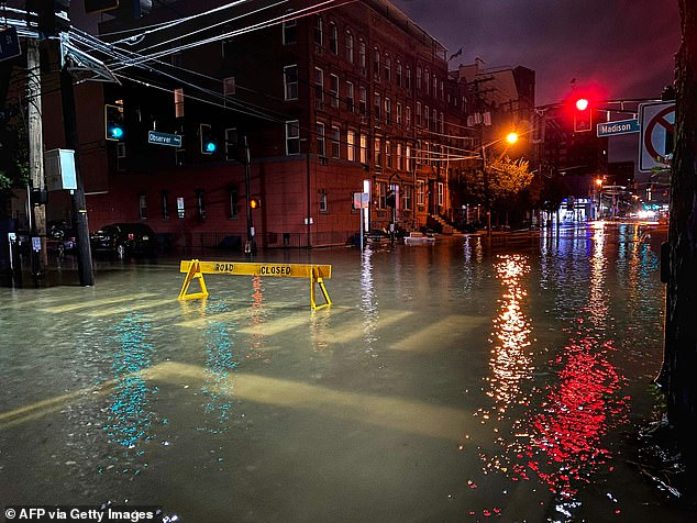 Road closure signs were put up across southwest Hoboken to warn residents not to drive in the heavily flooded areas