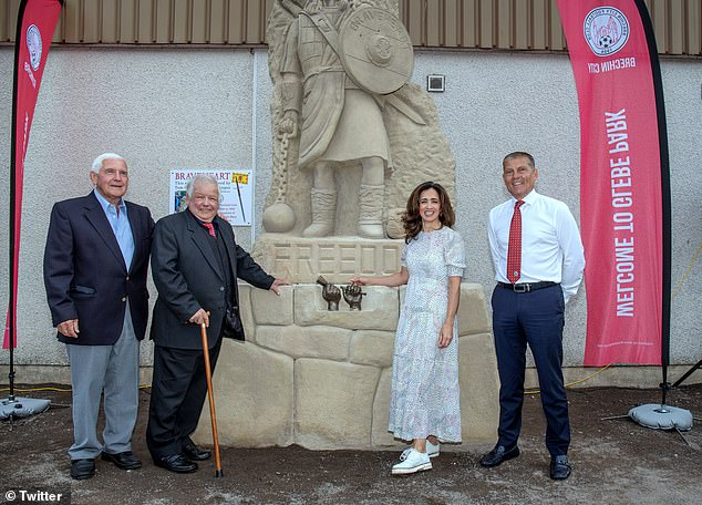 Church gathered with Brechin City officials and STV presenter Andrea Brymer for the unveiling