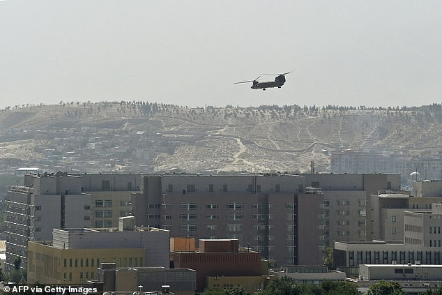 The embassy was abandoned by US diplomats on August 15 as Kabul fell to the Taliban. A helicopter was seen evacuating the workers in scenes reminiscent of the fall of Saigon in 1975