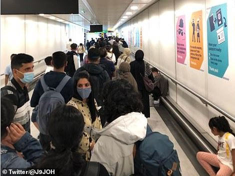 Furious Heathrow arrivals are complaining of yet more queues at the Heathrow today, less than 24 hours after Home Office chiefs branded the wait-time chaos at the airport as 'unacceptable'. Pictured: One Twitter user, John O'Hara, posted this image on Twitter today