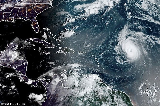 This satellite image shows Hurricane Larry east of the Leeward Islands on September 5.The storm, which is unlikely to hit US soil, is set to tear through the Greater Antilles, the Bahamas and Bermuda today through Tuesday as the Northeast recovers from record-setting rainfall brought on by Hurricane Ida last Wednesday.