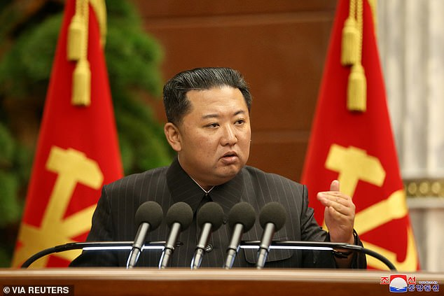 Kim Jong Un has called for 'urgent action' on climate change after floods and droughts destroyed vital crops in North Korea, leading to the country's major food shortage crisis. Pictured: Kim during the Politburo meeting on Thursday