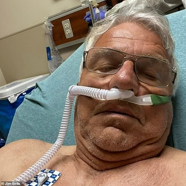 Jim Sales (pictured) was anti-vaxx and hospitalized for 16 days before personally contracting COVID-19 in August.  Now, he's pushing others in his Georgia community to get vaccinated