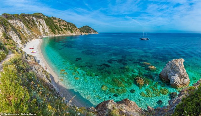 Elba is the setting for Mary Bly's new romantic novel Lizzie and Dante, out now. The American author was introduced to the island by her husband, who used to summer there as a child. Pictured, the island's Sansone Beach