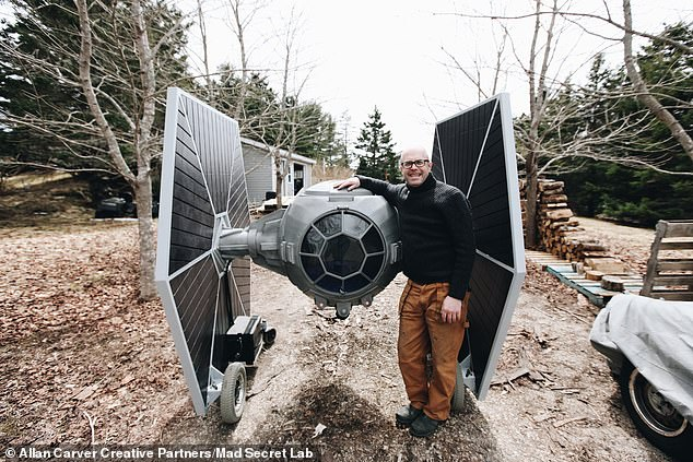 Advertising exec turned 'mad inventor' Allan Carver built this rideable TIE fighter out of an old motorized wheelchair headed for the landfill and a steel frame he cut and shaped himself