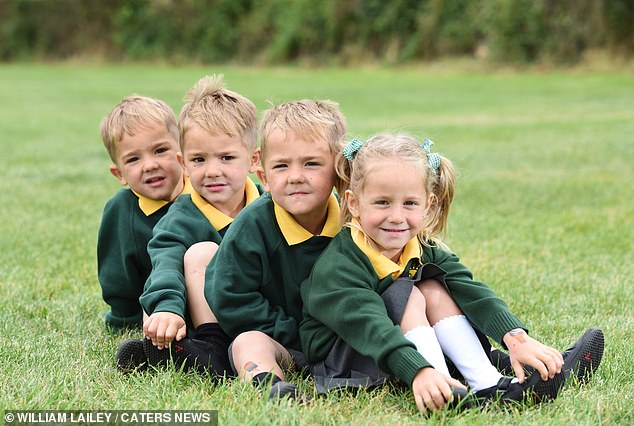 Identical brothers Roman, Austin and Arlo and their sister Raeya lookedever so smart in their uniforms ready to start school next week