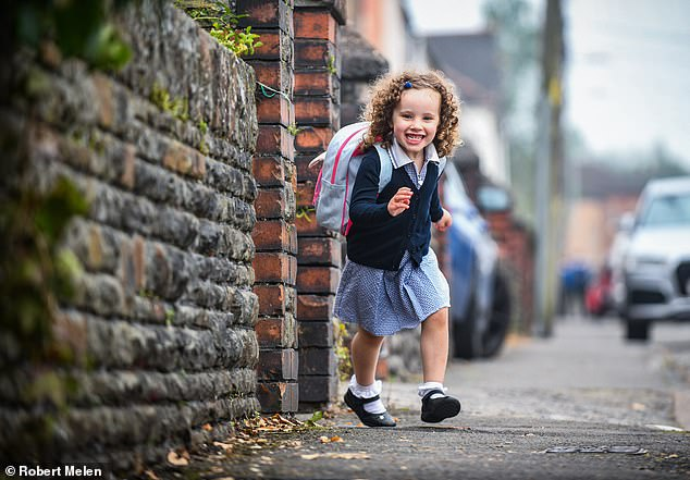 The Government has made plans for an October 'firebreak' lockdown with school half-term holidays set to double in length if hospitalisations keep rising, a SAGE member claims. Pictured: One of the many millions of children returning to schools across England and Wales as classes start back after the Summer break, September 6