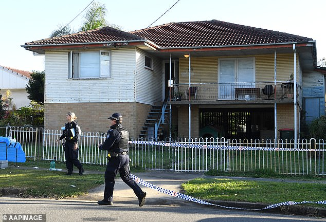 Investigators believe the 43-year-old man made the initial emergency call about 7.30pm on Monday before paramedics arrived at the home in Upper Mount Gravatt (pictured, the home on Wishard Road)