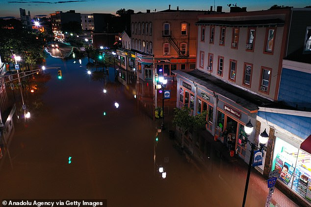 Hurricane Ida flooded streets in Bound Brook in New Jersey after slamming into the state on Wednesday