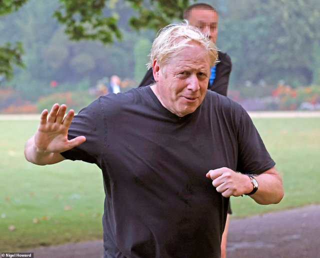 Boris Johnson went out for a run this morning as he prepares to unveil his plan to hike National Insurance later