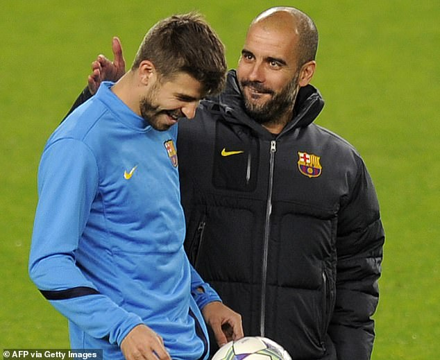 Gerard Pique (left) says his relationship with Pep Guardiola (right) broke down at Barcelona when he started dating Shakira