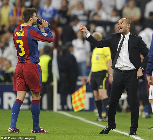 Pique (left) rued Guardiola's desire to have 'absolute control of everything' at the Camp Nou