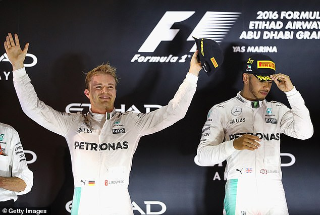 Nico Rosberg (left), who partnered Hamilton (right) for three years at Mercedes, believes the Briton spoke so highly of Bottas because he 'never beat' him to titles and was 'super useful'