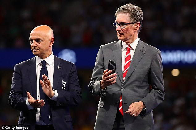 Levy and Tottenham were roundly condemned for joining the Super League along with the 'top six' Premier League clubs, including Liverpool and owner John Henry (R)
