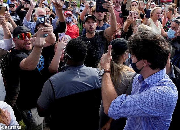 Mr Trudeau has been dogged by angry protesters on the campaign trail, who last week through gravel at him and have forced him to cancel a rally