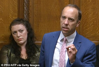 Matt Hancock speaks in the House of Commons in London today for the first time since he resigned as health secretary