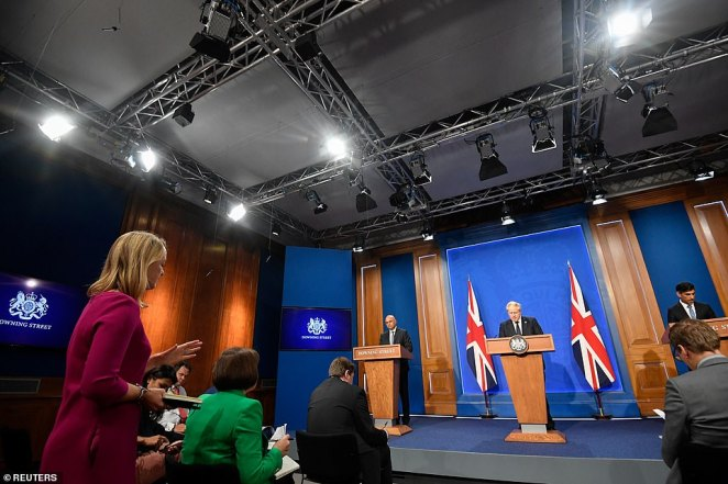 At a press conference alongside the Chancellor and Health Secretary tonight, Boris Johnson argued that one in seven people now faced care costs of more than £100,000 and wider society needs to 'share the risk'