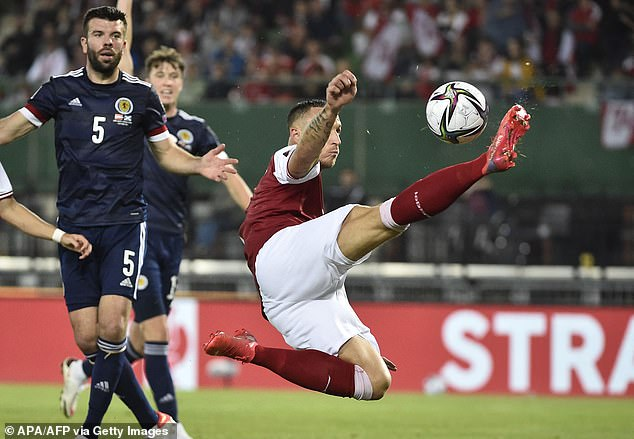 Marko Arnautovic led the line for Austria but, despite his acrobatic efforts, could not score