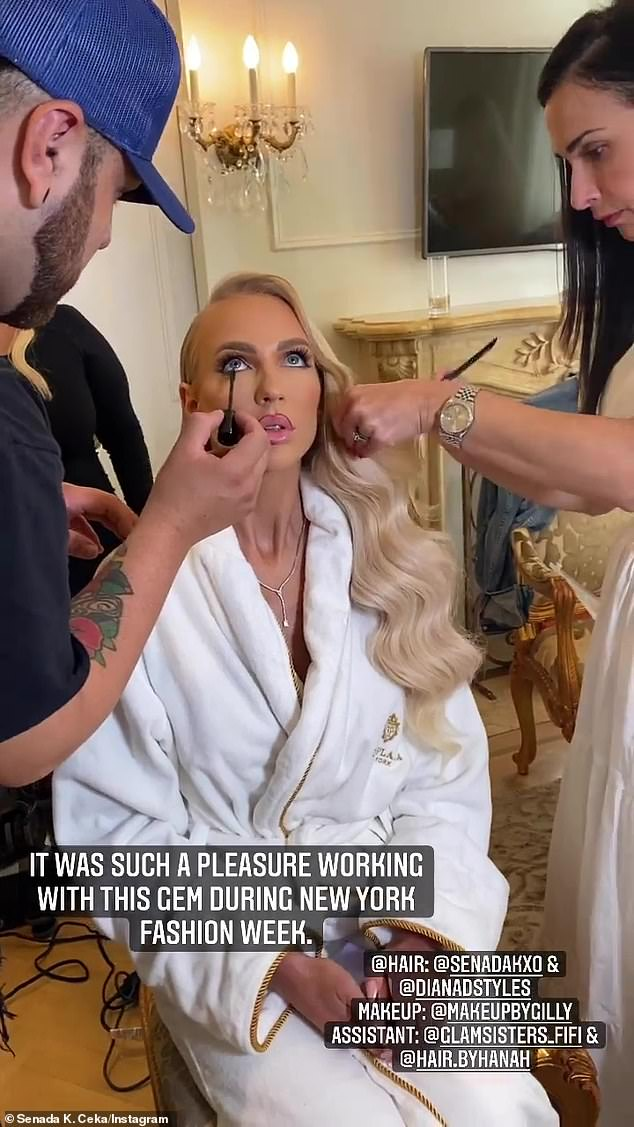 'It was such a pleasure': Quinn's glam squad Instastoried several behind-the-scenes snaps and video s of her getting primped and painted at the Plaza Hotel