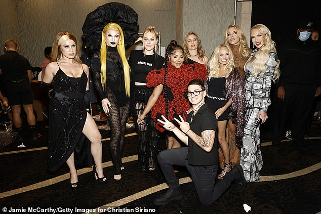 Mastermind: The Oppenheim Group realtor checked out the 35-year-old Project Runway mentor's (front) 40th collection presentation held at Gotham Hall in Midtown