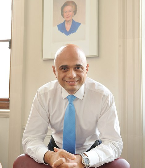 Mr Javid revealed he still has a portrait of Margaret Thatcher in his office (pictured in 2014)