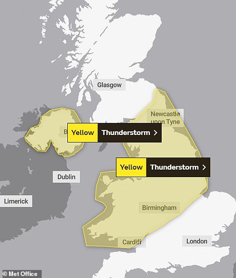 A yellow weather warning has been put in place across large swathes of the UKas experts warn of the risk of travel disruption and 30 to 50mm of potential rainfall