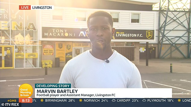 Livingston FC captain Marvin Bartley (pictured) said players need to walk off the pitch to 'hit FIFA and UEFA where it hurts' until they do more to protect stars