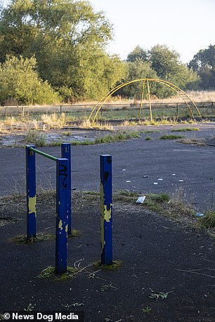 Dilapidated play equipment at a playground in Chelmsley Wood