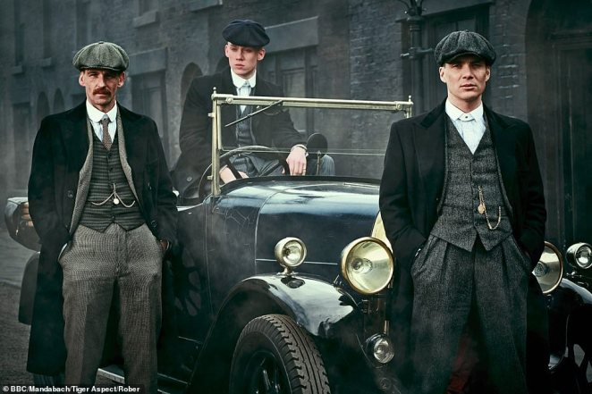 Dressed in sharp suits and caps reminiscent of the criminals in BBC hit drama the Peaky Blinders (above), it is thought many of them were involved in organised crime and racketeering
