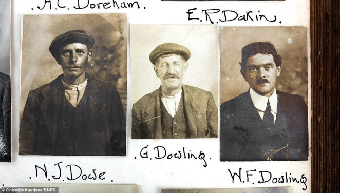 Expert Austin Faraher, from Chiswick Auctions in West London, described the album as one of the earliest known examples of police reconnaissance work, designed to keep an alphabetic record of suspected criminals. Above: N. J. Dowe, G.Dowling and W.F. Dowling