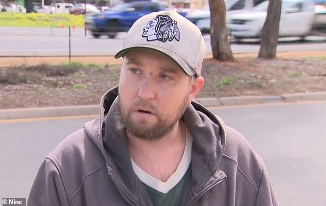 Jack Harkins, 34, (pictured) had been driving on Main North Road in the city's northern suburbs when his Range Rover clipped the back of a truck around 6:30am on Tuesday