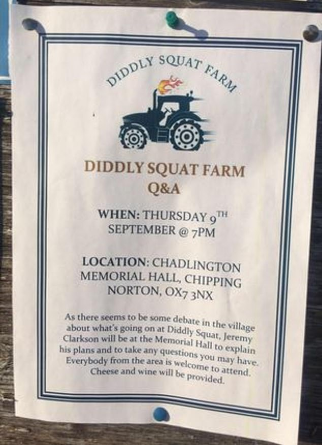 To quell his neighbours' fears, Mr Clarkson has invited the local community (poster pictured) to join him in the village hall at 7pm to discuss the farm shop and enjoy cheese and wine