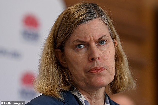 Health officials including Kerry Chant (pictured) pleaded with Gladys Berejiklian and her Liberal Party ministers to wait until vaccination coverage hits 80-85 per cent before throwing open the doors of the state's pubs, cafes, restaurants, retails stores, gyms and hair salons