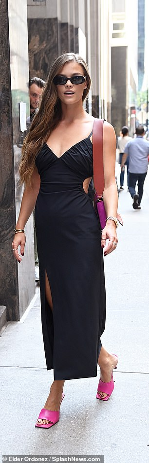 Enjoying the festivities: New York Fashion Week is in full swing and model Nina Agdal got in on the fun Wednesday afternoon