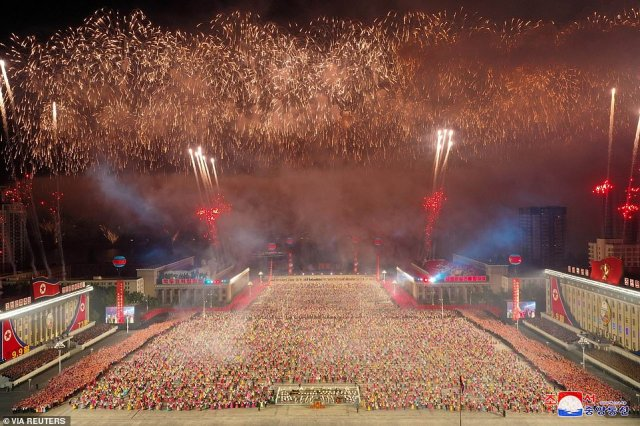 Experts said the parade, the third of its kind in 12 months, was intended to shore up morale among North Koreans and 'give them something to enjoy'