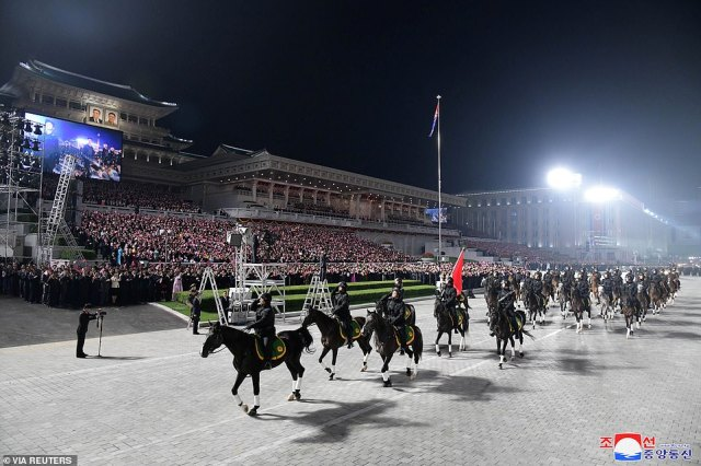 Pictured: A military cavalry take part in the parade marking the 73rd anniversary of the rounding of North Korea