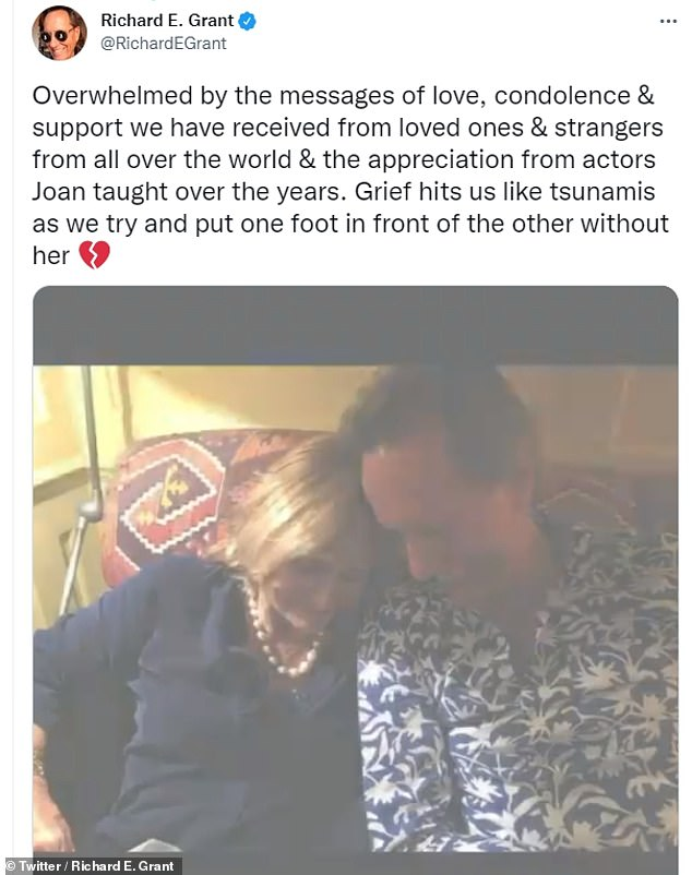 Emotional: Richard thanked well-wishers for their support after the death of his wife Joan at the age of 71 - as he said grief had hit him 'like a tsunami'