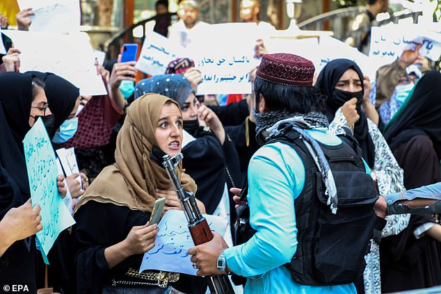 Many women were among the protesters out in Kabul on Tuesday, where they were seen arguing with Taliban fighters
