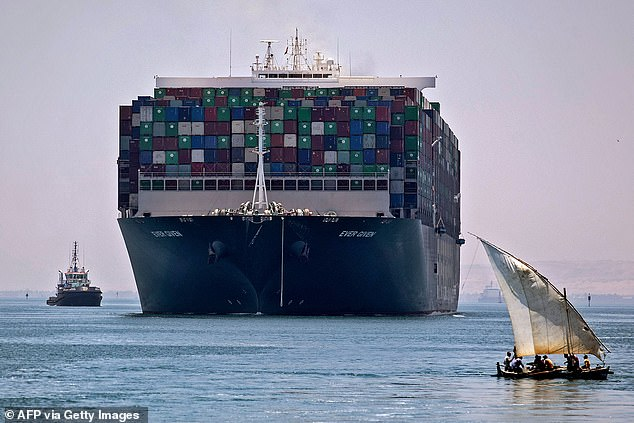 Another vessel ran aground in the Suez Canal today temporarily blocking the global shipping line nearly six months after it was blocked for six days by the Ever Given (pictured)